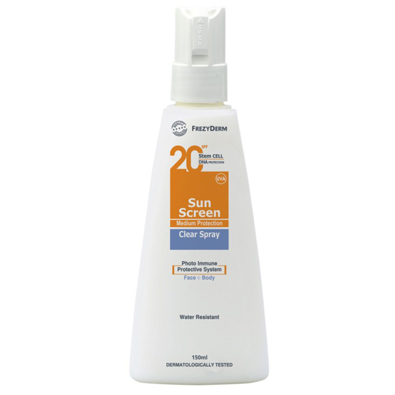 Frezyderm Clear Spray Αντηλιακό διάφανο spray σώματος Spf 20, 150Ml Pharmacy4y Overespa