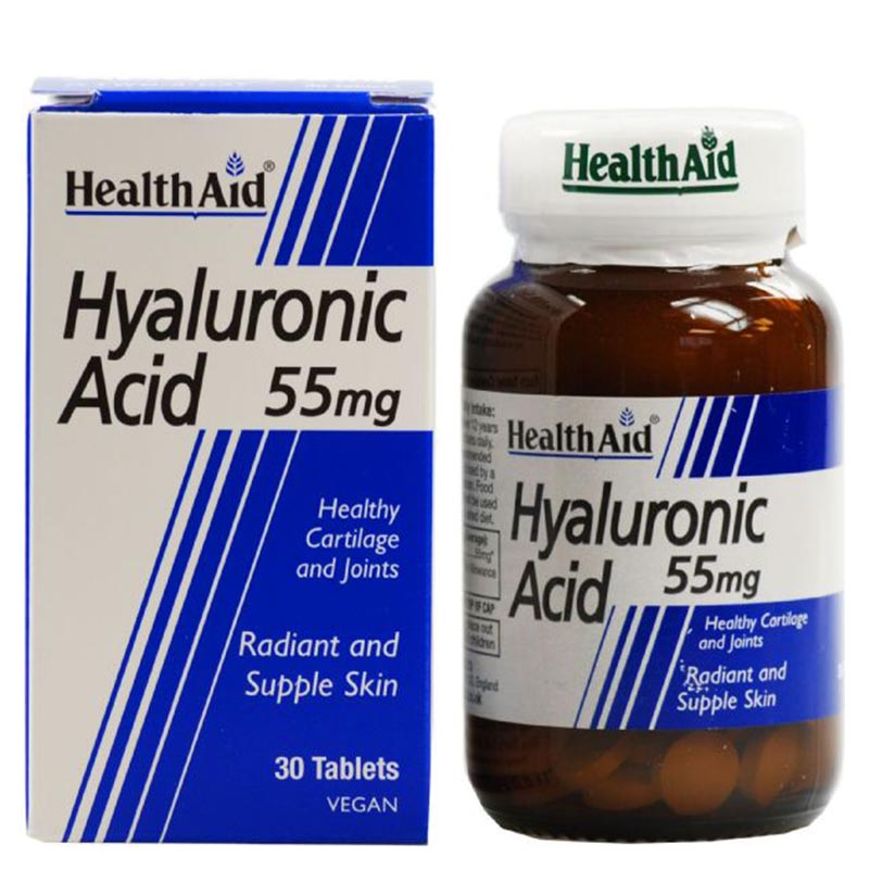 health aid Hyaluronic Acid Συμπληρώματα ομορφιάς, 55Mg 30Tabs Pharmacy4y Overespa