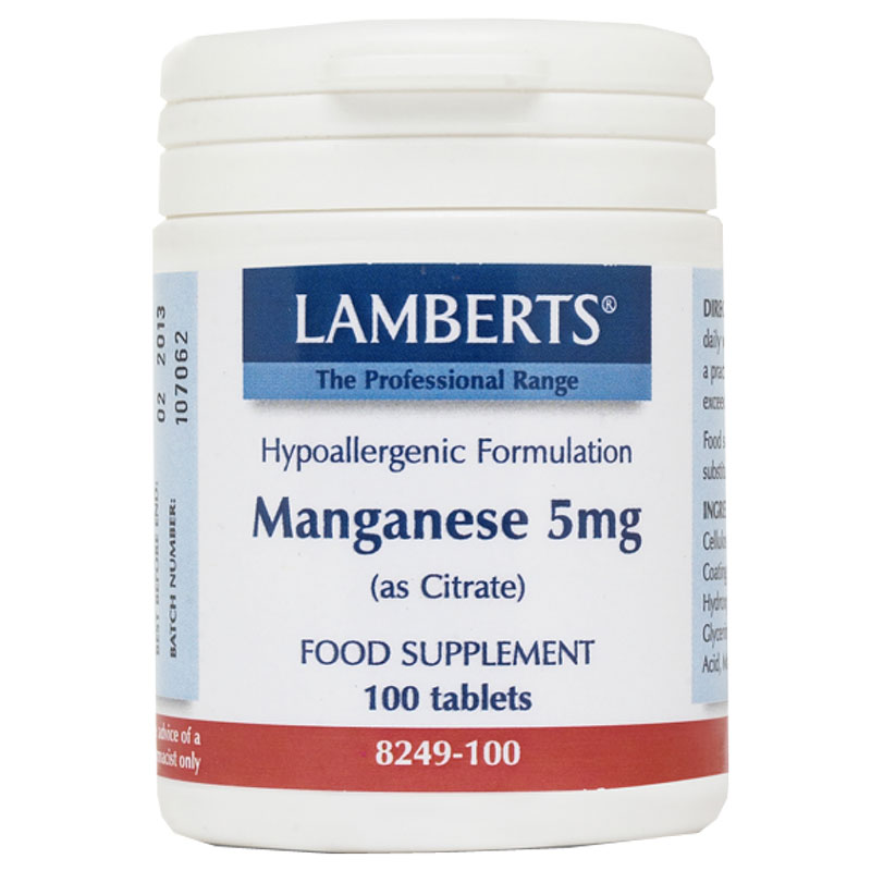 Lamberts Manganese Ειδικά συμπληρώματα, 5mg 100caps Pharmacy4y Overespa