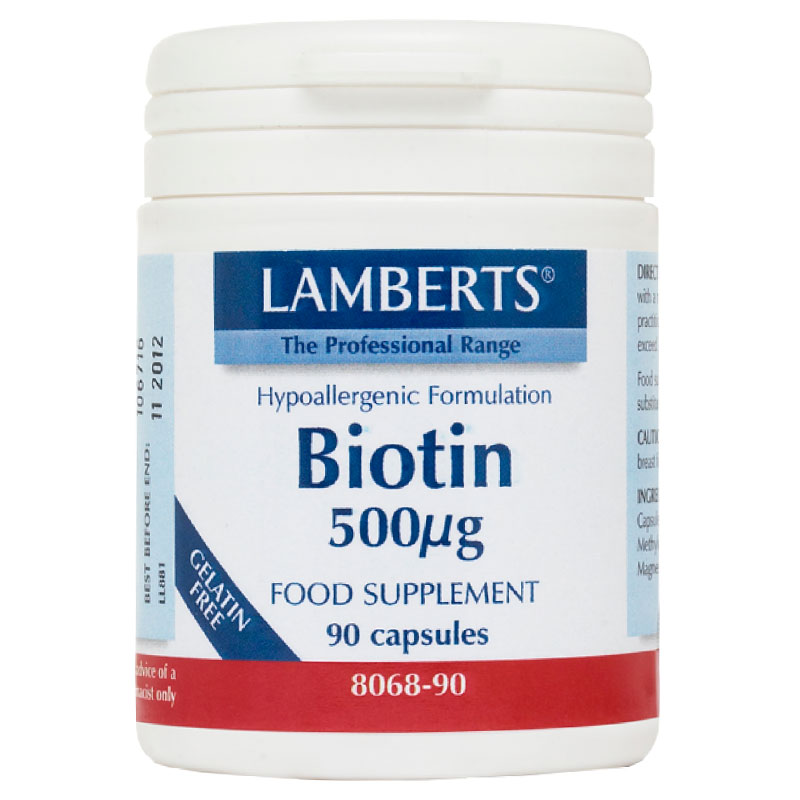 Lamberts Vit Biotin Βιταμίνες, 500mcg 90caps Pharmacy4y Overespa