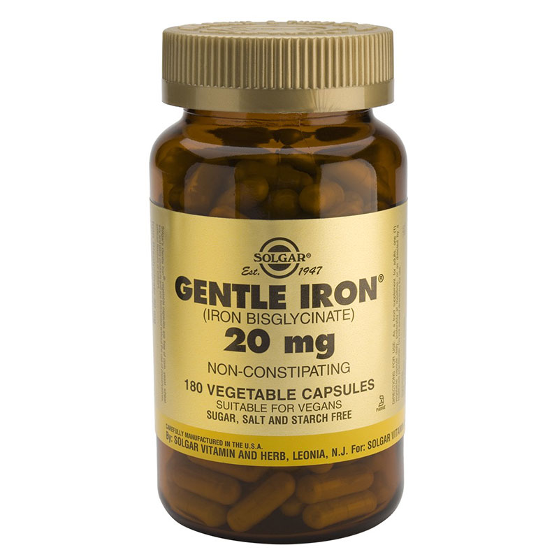 Solgar gentle iron 20mg vegicaps 180s -pharmacy4y overespa