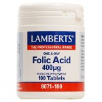 Lamberts Folic Acid Βιταμίνες, 400mcg, 100tabs Pharmacy4y Overespa
